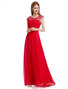 Elegant Scoop Cap Sleeve Open Back Beaded Lace Red Chiffon Prom Evening Dress Beautiful Bridesmaid Dresses, Red Wedding Dresses, Lace Bridesmaid Dresses, Party Dresses For Women, Chiffon Evening Dresses, Evening Gowns, Lace Chiffon, Evening Party, Evening Cocktail