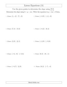 math worksheet : new 2015 04 22! determine a linear equation by graphing two points  : Math Linear Equations Worksheets