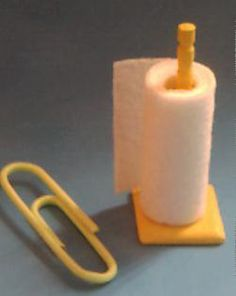 Paper towel holder - easy to make. All you need is a Woodsie, a turned toothpick and piece of real life paper towel or tissue.