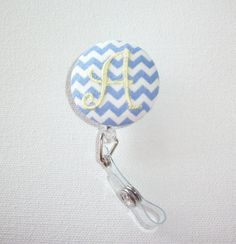 Retractable ID Badge Holder Reel   Fabric Button Your by Laa766, $7.75  chic / cute / preppy / fabric / covered button / clip-on / retractable cord / patterned / co-worker gifts / gifts under $10 / college         clip these onto scrubs, shirts, key fobs, lanyards, belts, purses, or school backpacks
