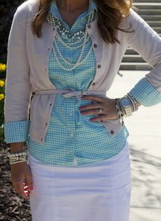 Turquoise Belted Jcrew Button up,Blush Sweater. Love the jewelry!