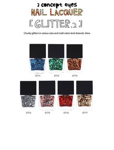 3 Concept Eyes Glitter topcoat Nail Polish V2