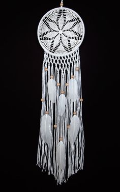 White Dream Catcher Crochet Doily Dreamcatcher by DreamcatchersUA