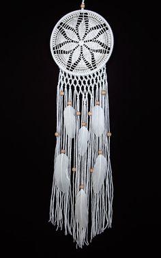 White Dream Catcher Crochet Doily Dreamcatcher by DreamcatchersUA