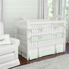 Silver Gray and Mint Fawn Crib Bedding | Carousel Designs