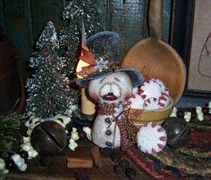 "Primitive Patti's Ratties Snowman Frosty 6"" Christmas Ornament Vtg Doll Bear"