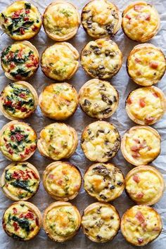 Skip the store-bought and make your own Mini Quiche! Try these 4 tasty combos or choose your own adventure. Make ahead/freezer friendly and great for kids! I remember trying Mini Quiche appetizers as Chicken Thights Recipes, Easy Chicken Recipes, Recipe Chicken, Healthy Chicken, Chicken Salad, Aperitivos Finger Food, Mini Quiche Recipes, Frittata Recipes, Elegant Appetizers