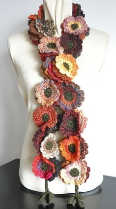 Floral Fall Contrast Red-Brown-Orange Crochet by jennysunny