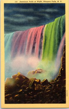 Niagara Falls, New York, American Falls, Night - Linen Postcard - Unused - Postcard (T)