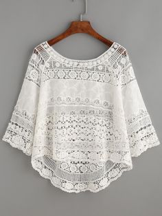 Shop White Crochet Hollow Out Dip Hem Blouse online. SheIn offers White Crochet Hollow Out Dip Hem Blouse & more to fit your fashionable needs. Boho Fashion, Fashion Outfits, Womens Fashion, Dress Fashion, Blouse Sexy, Collar Blouse, Feminine Mode, Mode Outfits, Mode Style