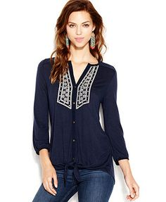 lucky brand jeans plus size top, long-sleeve cutout peasant - plus