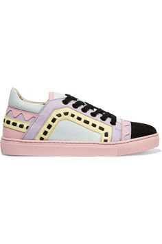 SOPHIA WEBSTER Riko laser-cut leather and suede sneakers  $350.00 https://www.net-a-porter.com/products/649115
