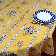 gotta love lavender! Mathilde yellow stripe acrylic coated tablecloths...