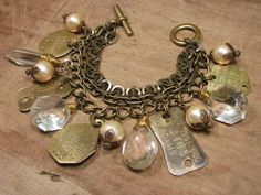 Upcycled Jewelry - Vintage Chic Chunky Pearl, Chandelier Crystal and Brass Dog License Tag Multi-Strand Bracelet. Beaded Earrings, Beaded Jewelry, Jewelry Bracelets, Bangles, Necklaces, Bracelet Making, Jewelry Making, Chandelier Crystals, Pearl Chandelier