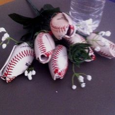 Roses made from baseballs