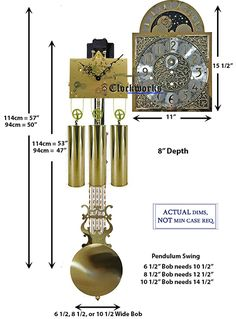 Mechanical Clock Kits - Build a Grandfather Clock with Ease : Clockworks Grandfather Clock Kits, Grandmother Clock, Mechanical Wall Clock, Wall Clock Kits, Chain Drive, Clock Movements, Wood Sticks, Thing 1, Wood Working