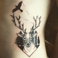 oh deer! #deertattoo #hipstertattoo #bwtattoo #blacktattoo #woods #deer #birdtattoo