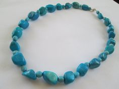 Sky Blue Howlite Stone Nugget Necklace by dreamdesigns on Etsy