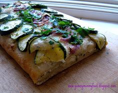 Cheesy Flatbread w/ Zucchini & Red Onion Appetizer
