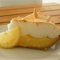 Lemon Meringue Pie ~  This pie is thickened with cornstarch and flour in addition to egg yolks, and contains no milk.