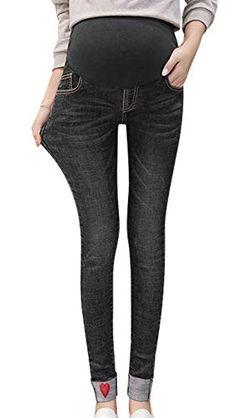 a3efc93fc0926 Happy Cherry Tummy Maternity Jeans Over Bump Slim Look Elastic Soft  Pregnant Clothes Motherhood Black Leggings Pants Cotton Denim Black Trousers  XXL
