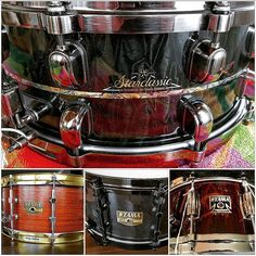 Here's to day 1 of the #DrummingCoMayPhotoChallenge.  We have a #starclassic #bubinga #exotix snare with an outer ply of #sapele 14X5.5. A #rosewood with #brass #mighty hoops 14X6.5.  A #birdseye #maple #gibraltar  with #cosmo black hardware 14X6.5.  And last but definitely not least an #artstar #cordia reissue snare also 14X6.5.  Love them all!  #drumporn #snareporn #snareaddict #drumlust by drums4days