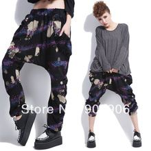 Nueva HipHop de moda mujeres de talla grande Casual pantalones acuarela pantalones deportivos danza Baggy Trousers Harem(China (Mainland))