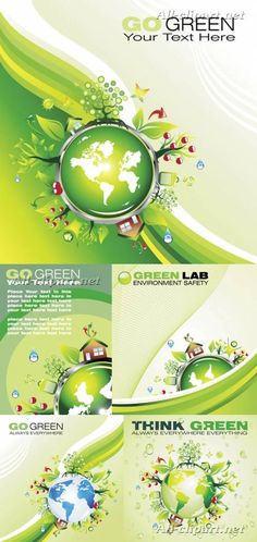 Экологические карточки и фоны с глобусом и домиками в векторе | Ecology vector cards