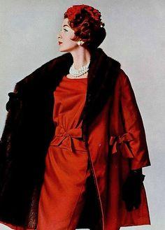 Ravishingly elegant in burnished red. #vintage #1950s #fashion #dress #coat