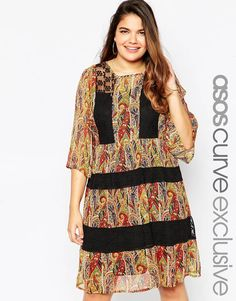 Image 1 ofASOS CURVE Midi Skater Dress in Paisley Print with Lace Inserts