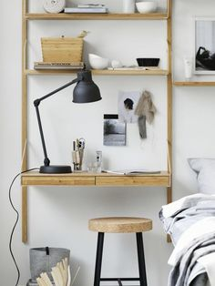 A dreamy ikea bedroom & workspace (Daily Dream Decor) Bedroom Workspace, Ikea Bedroom, Office Interior Design, Office Interiors, Svalnäs Ikea, Hektar Ikea, Best Office, Bamboo Shelf, Modular Shelving