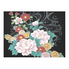 Chrysanthemum Peony Vintage Floral Kimono Pattern Cotton Linen Tablecloth 52