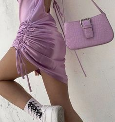 staying in and dressing up . Purple Outfits, Style Outfits, Mode Outfits, Lavender Aesthetic, Purple Aesthetic, Fashion Bags, Fashion Outfits, Womens Fashion, High Fashion