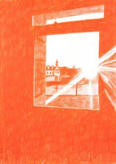 Morten Schelde (Danish, b. 1972), Window – Nørre Søgade, 2015. Coloured pencil on paper, 29.7 x 21 cm.