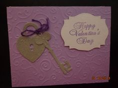 Locket and Key with embossed Lavender background