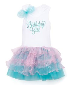 White & Blue 'Birthday Girl' Tutu Dress - Infant, Toddler & Girls #zulily #zulilyfinds