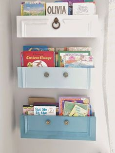 Stacey, the blogger behind Addison Meadows Lane, repurposed drawers into a fun set of hanging bookshelves for a children's room. See how here.a#kidsroom #bedroom #childrensroom #DSA