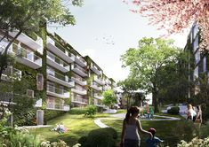 schmidt hammer lassen Architects Wins Competition to Design a Residential Block in Aarhus,Exterior Rendered View. Image Courtesy of schmidt hammer lassen architects