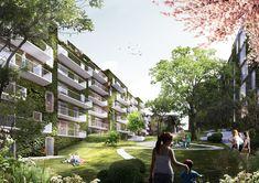 schmidt hammer lassen Architects vence concurso para projetar conjunto residencial em Aarhus,Vista externa. Cortesia de schmidt hammer lassen architects