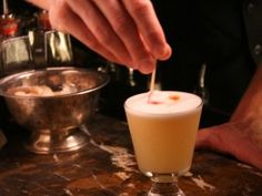 Oolong Tea Infused Pisco Sour : Recipes : Cooking Channel Alcoholic Drinks, Beverages, Cocktails, Sour Foods, Pisco Sour, Oolong Tea, Tea Infuser, Simple Syrup, Other Recipes