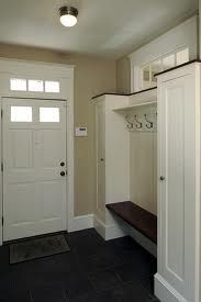 small mudroom ideas - go all the way to top with no window, maybe closed cupboard at top.