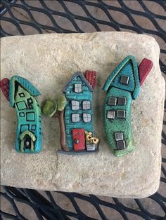 Polymer clay houses by Rosemary