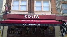 The in High Wycombe, have had their recovered! Here it is looking nice and new! Awning Shade, Costa Coffee, High Wycombe, Bespoke, How To Look Better, Shades, Nice, Outdoor, Taylormade