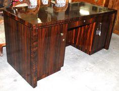 Desk, Art Deco, macassar ebony, 1920 - 79 cm x 170 cm x 77 cm (h x w x d), www. Desks, Antique Furniture, Art Deco, Cabinet, Antiques, Storage, Home Decor, Tables, Footlocker