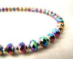 Rainbow Crystal Necklace by BellinaCreations on Etsy, $50.00