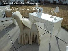 Loving the long pleated skirt on this linen slipcovered slipper chair
