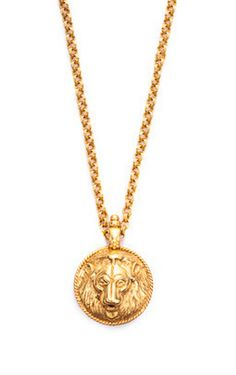 Gold Lion Pendant Necklace with Stone Back
