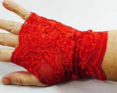 Red Lace Fingerless Gloves or Wrist Cuff, Wrist Accessories,  Boho Accessories, Tattoo cover up, Boho wristband, Lace Gloves, Multiple Uses by Inspiredthread on Etsy