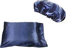 Set Queen/Standard Silk~y Satin Pillow Case with Matching Bonnet Set (Navy) Satin Pillowcase, Hair Breakage, Bed Pillows, Pillow Cases, Handmade, Stuff To Buy, Design, Pillows, Hand Made