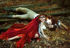 Romeo and Juliet by Annie Leibovitz for Vogue - My Modern Metropolis  This looks like the death scene from O Pioneers with the blood from the buck shot, and her body draped over his...